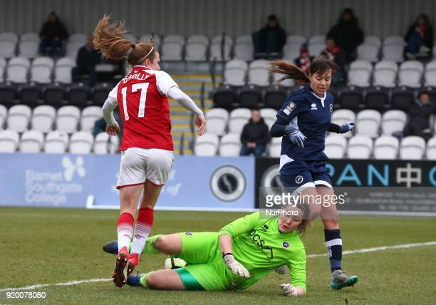 LR Heather O'Reilly of Arsenal and Sarah Quantrill of Millwall Lionesses L during The FA Women's Cup Fifth Round match between Arsenal against...