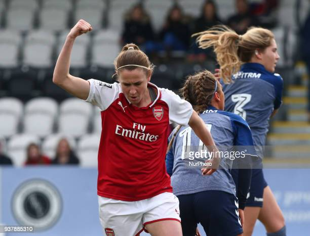 Heather O'Reilly of Arsenal celebrates scoring her sides third goal during SSE Women's FA Cup quarter_final match between Arsenal against Charlton...
