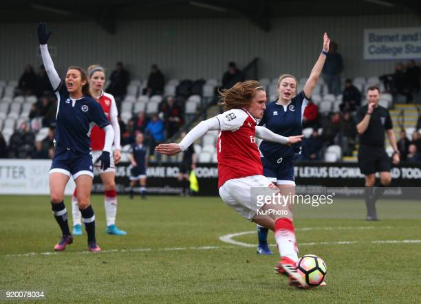 Heather O'Reilly of Arsenal during The FA Women's Cup Fifth Round match between Arsenal against Millwall Lionesses at Meadow Park Borehamwood FC on...