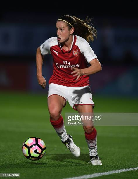 Heather O'Reilly of Arsenal during the match between Arsenal Women and Everton Ladies at Meadow Park on August 31 2017 in Borehamwood England