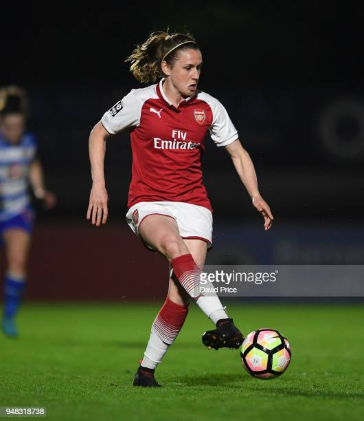 Heather O'Reilly of Arsenal during the match between Arsenal Women and Reading Women at Meadow Park on April 18 2018 in Borehamwood England