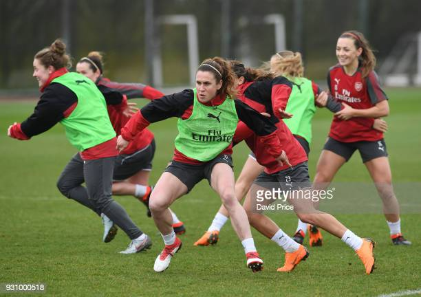 Heather O'Reilly of Arsenal in action during an Arsenal Women Training Session at London Colney on March 12, 2018 in St Albans, England.