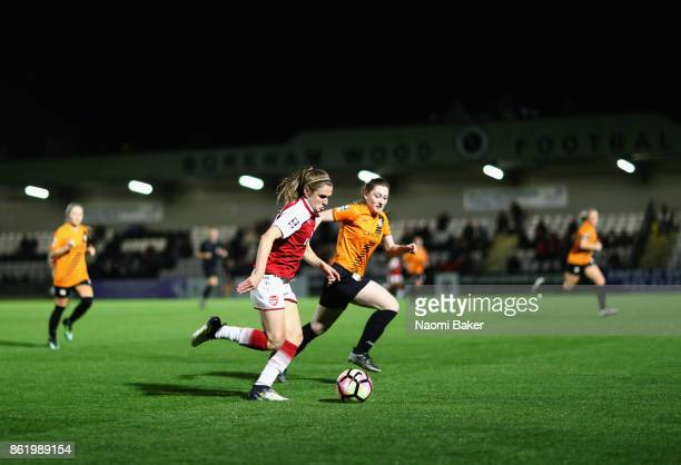 Heather O'Reilly of Arsenal in action during the FA Women's Super League Continental Cup match between Arsenal and London Bees on October 12 2017 in...
