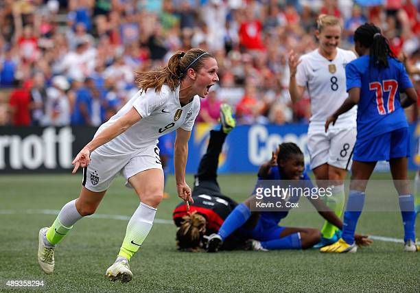 Heather O'Reilly of the United States of America reacts after scoring a goal against Haiti during the US Women's 2015 World Cup victory tour match at...
