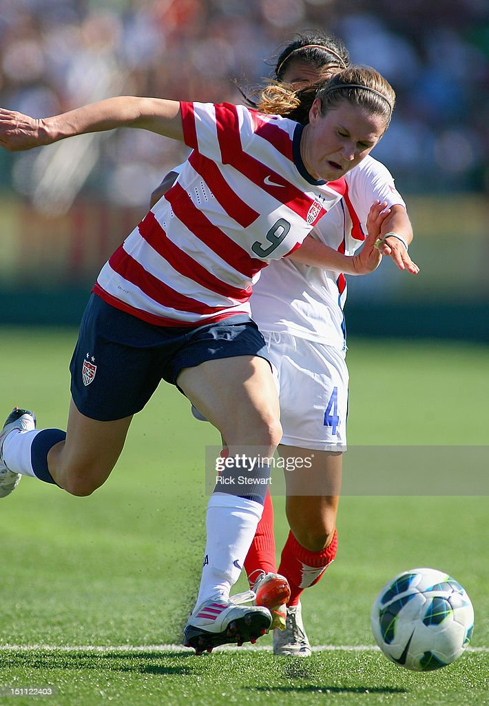 Heather O'Reilly of the United States Womens National Team attacks against Costa Rica during their friendly match at Sahlen's Stadium on September 1, 2012 in Rochester, New York. The US won 8-0.