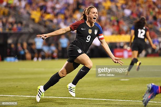 Heather O'Reilly of the US Women's National Team celebrates after scoring a goal in the first half against Thailand on September 15 2016 at MAPFRE...