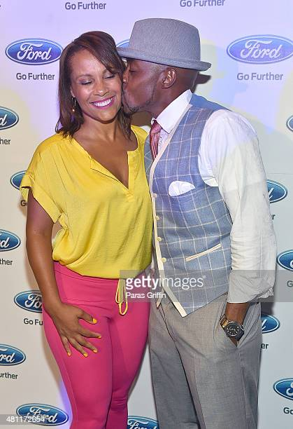 Heather Hayslett and Will Packer attend First Take With Ford at Georgia Railroad Freight Depot on July 17 2015 in Atlanta Georgia