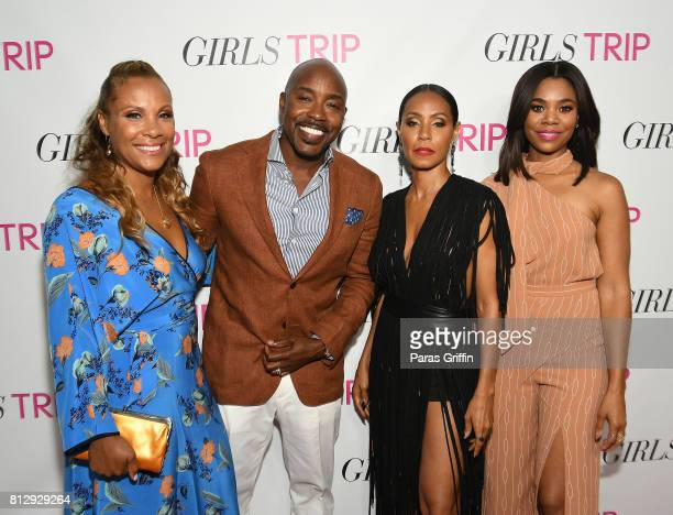 Heather Hayslett Packer Will Packer Jada Pinkett Smith and Regina Hall at Girls Trip Atlanta special screening at SCADshow on July 11 2017 in Atlanta...