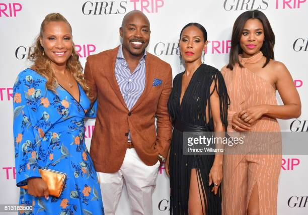 Heather Hayslett Packer Will Packer Jada Pinkett Smith and Regina Hall attend Girls Trip Atlanta Screening at SCADshow on July 11 2017 in Atlanta...