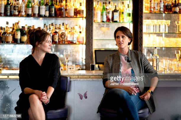 """Heather Peace and Patricia Potter on the Cast and Crew panel during """"Henpire"""" podcast launch event at Langham Hotel on September 10, 2020 in London,..."""
