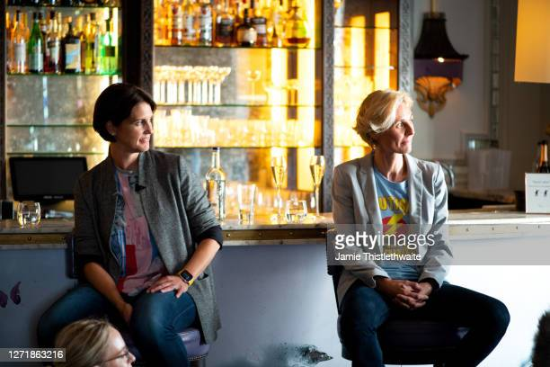 """Heather Peace and Samantha Grierson on the Cast and Crew panel during the """"Henpire"""" podcast launch event at Langham Hotel on September 10, 2020 in..."""
