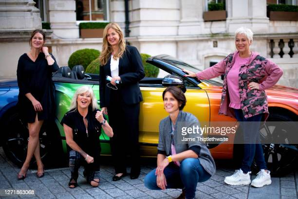 "Heather Peace, Denise Welch, Samantha Fox, Patricia Potter and the GM of The Langham pose with the rainbow Bentley during the ""Henpire"" podcast..."