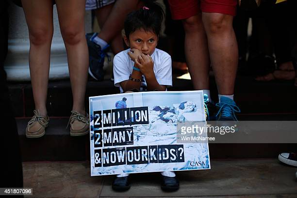 Heather Pia Ledezma age 4 and from Mexico joins immigration reform protesters at a rally July 7 2014 in Washington DC Participants condemned 'the...