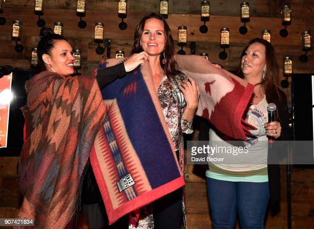 Heather Rae is honored with a blanket at Steelhouse and Eternal Front presents Beyond the Front Lines during the 2018 Sundance Film Festival on...