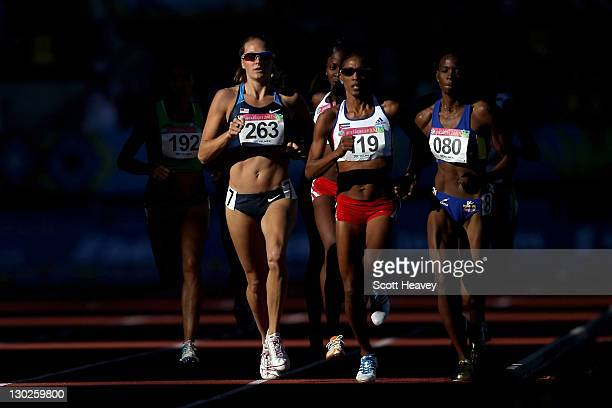 Heather Rae Kampf of the United States, Adriana Munoz of Cuba and Rosibel Garcia of Colombialead the field in the women's 800m final during Day 11 of...
