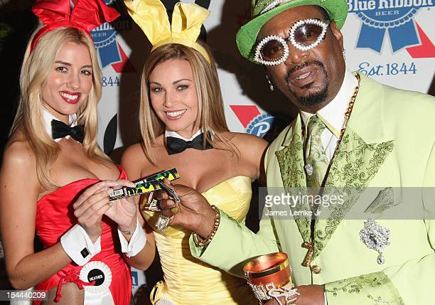 Heather Rae Young Ciara Price and Don Magic Jaun attend the Snoop Dogg Presents Colt 45 Works Every Time mansion party with Evan and Daren...