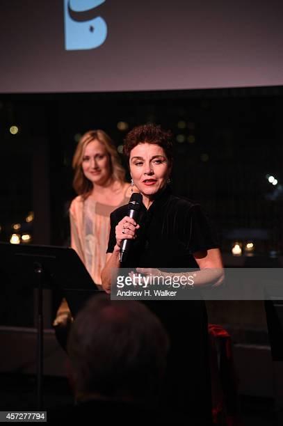 Heather Raffo and Christine Andreas appear onstage at Bridges Of Understanding's annual Building Bridges award dinner honoring designer Reem Acra...