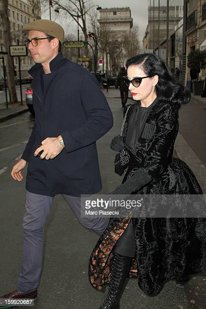 Heather Renee Sweet aka Dita Von Teese is seen strolling on January 23 2013 in Paris France