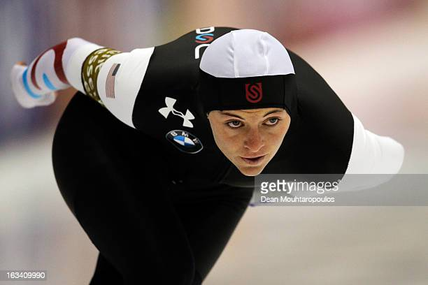 Heather Richardson of USA competes in the 1000m Ladies race on Day 2 of the Essent ISU World Cup Speed Skating Championships 2013 at Thialf Stadium...