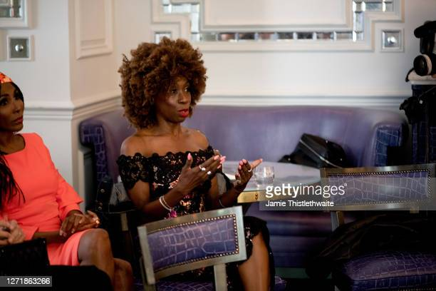 """Heather Small asks a question to the Cast and Crew panel during the """"Henpire"""" podcast launch event at Langham Hotel on September 10, 2020 in London,..."""