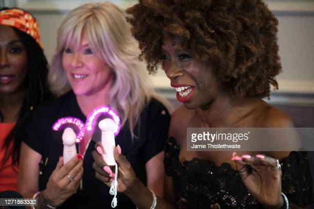 Heather Small laughs at a joke made during the Henpire podcast launch event at Langham Hotel on September 10 2020 in London England