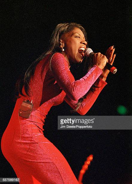 Heather Small of M People performing on stage at Wembley Arena in London on the 27th November 1997