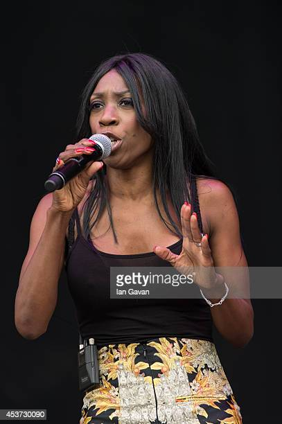 Heather Small of M People performs on the Virgin Media Stage during Day 1 of the V Festival at Hylands Park on August 17 2014 in Chelmsford England