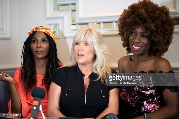 Heather Small Samantha Fox and Sinitta record an interview during the Henpire podcast launch event at Langham Hotel on September 10 2020 in London...