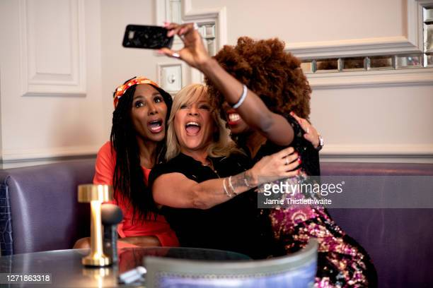 Heather Small Samantha Fox and Sinitta take a selfie during the Henpire podcast launch event at Langham Hotel on September 10 2020 in London England