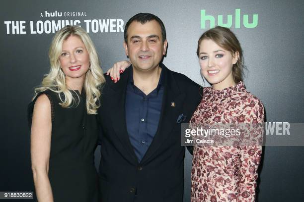 Heather Soufan Ali Soufan and Ella Rae Peck attend Hulu's The Looming Tower Series Premiere at The Paris Theatre on February 15 2018 in New York City