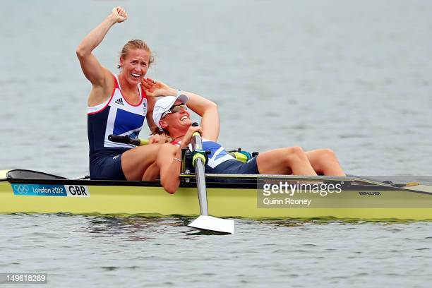 Heather Stanning and Helen Glover celebrate after winning gold in the Women's Pair Final during the Men's Single Sculls on Day 5 of the London 2012...