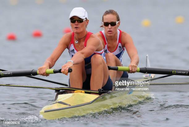 Heather Stanning and Helen Glover compete in the Women's Pair Final A during the Men's Single Sculls on Day 5 of the London 2012 Olympic Games at...