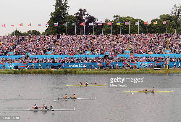 Heather Stanning and Helen Glover lead during the Women's Pair Final during the Men's Single Sculls on Day 5 of the London 2012 Olympic Games at Eton...
