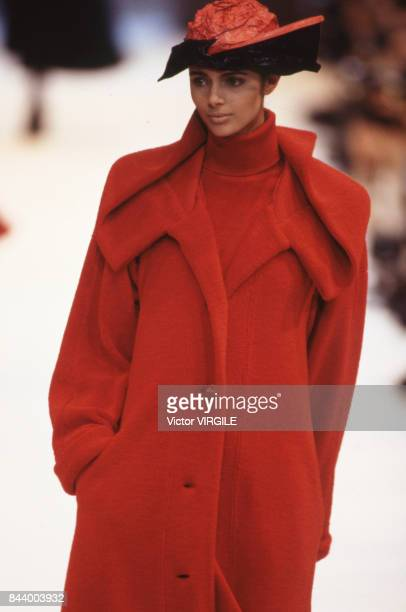 Heather Stewart Whyte walks the runway at the Issey Miyake Ready to Wear Fall/Winter 19901991 fashion show during the Paris Fashion Week in March...