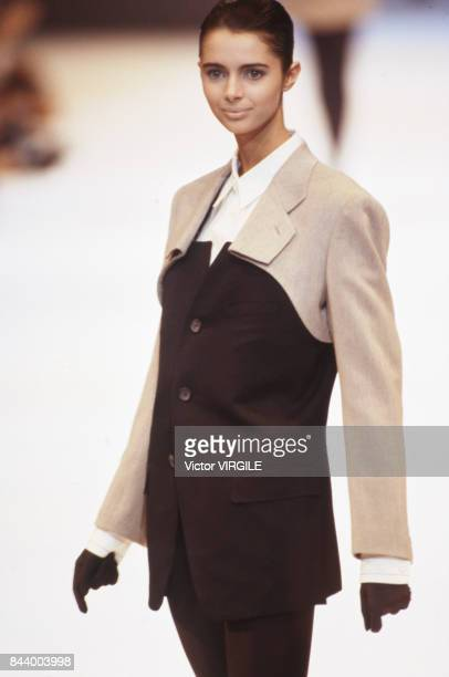 Heather Stewart Whyte walks the runway at the Issey Miyake Ready to Wear Fall/Winter 1990-1991 fashion show during the Paris Fashion Week in March,...