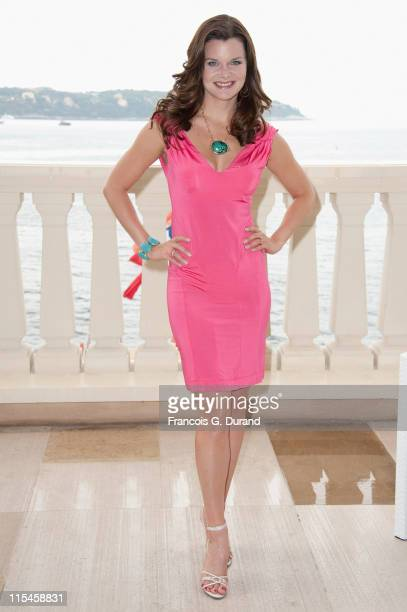 Heather Tom poses at Monte Carlo Bay hotel before they meet contest winners during the 2011 Monte Carlo Television Festival on June 7 2011 in Monaco...