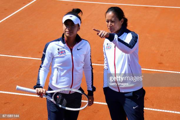 Heather Watson and Anne Keothavong during the Fed Cup World Group II Play Off match between Great Britain and Romania on April 22 2017 in Constanta...