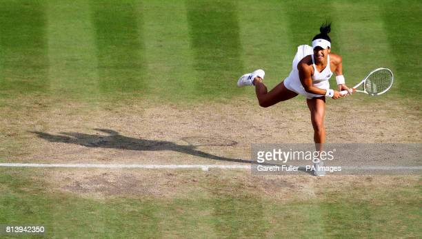 Heather Watson and Henri Kontinen during their mixed doubles match against Rohan Bopanna and Garbiela Dabrowski on day ten of the Wimbledon...