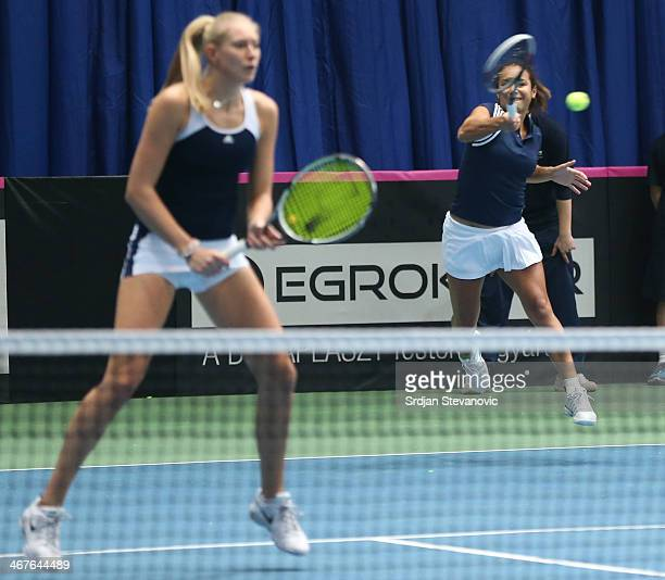 Heather Watson and Jocelyn Rae of Great Britain in action against Monica Niculescu and IrinaCamelia Begu of Romania during the day two of Fed Cup...