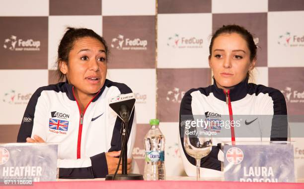 Heather Watson and Laura Robson speak following a Great Britain Fed Cup training session at Tenis Club IDU on April 21 2017 in Constanta Romania