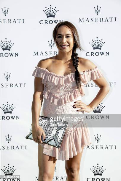 Heather Watson arrives ahead of the 2018 Crown IMG Tennis Player at Crown Palladium on January 14 2018 in Melbourne Australia