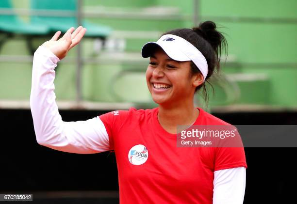 Heather Watson during a Great Britain Fed Cup training session at Tenis Club IDU on April 19 2017 in Constanta Romania