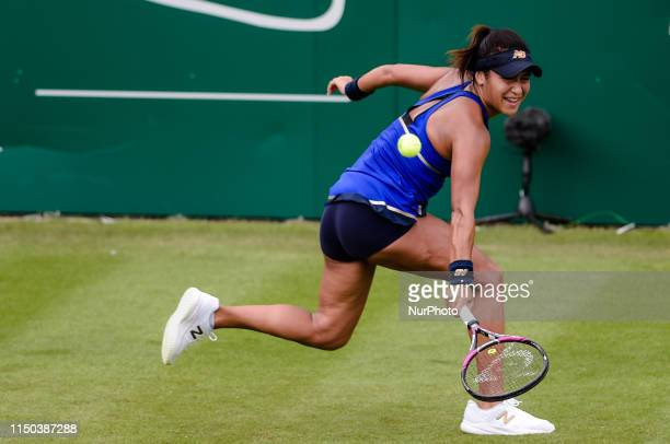 Heather Watson during her Round of 32 match with Barbara Strycova during the Nature Valley Classic Tennis Tournament at Edgbaston Priory Club,...
