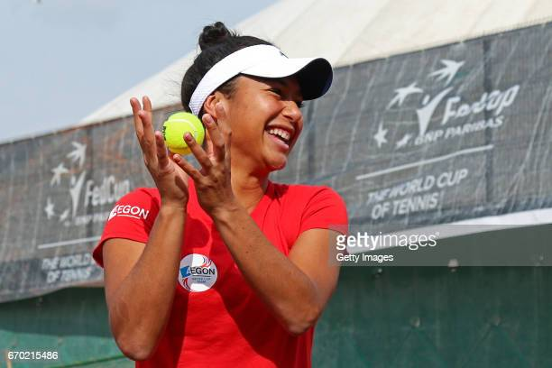 Heather Watson in action during a Great Britain Fed Cup training session at Tenis Club IDU on April 19 2017 in Constanta Romania
