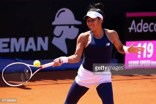 Heather Watson in action during the Fed Cup World Group II Play Off match between Great Britain and Romania on April 22 2017 in Constanta Romania on...