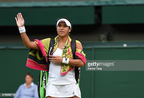 Heather Watson is beaten by Serena Williams on day five of the annual Wimbledon Tennis Championships at Wimbledon on July 3 2015 in London England