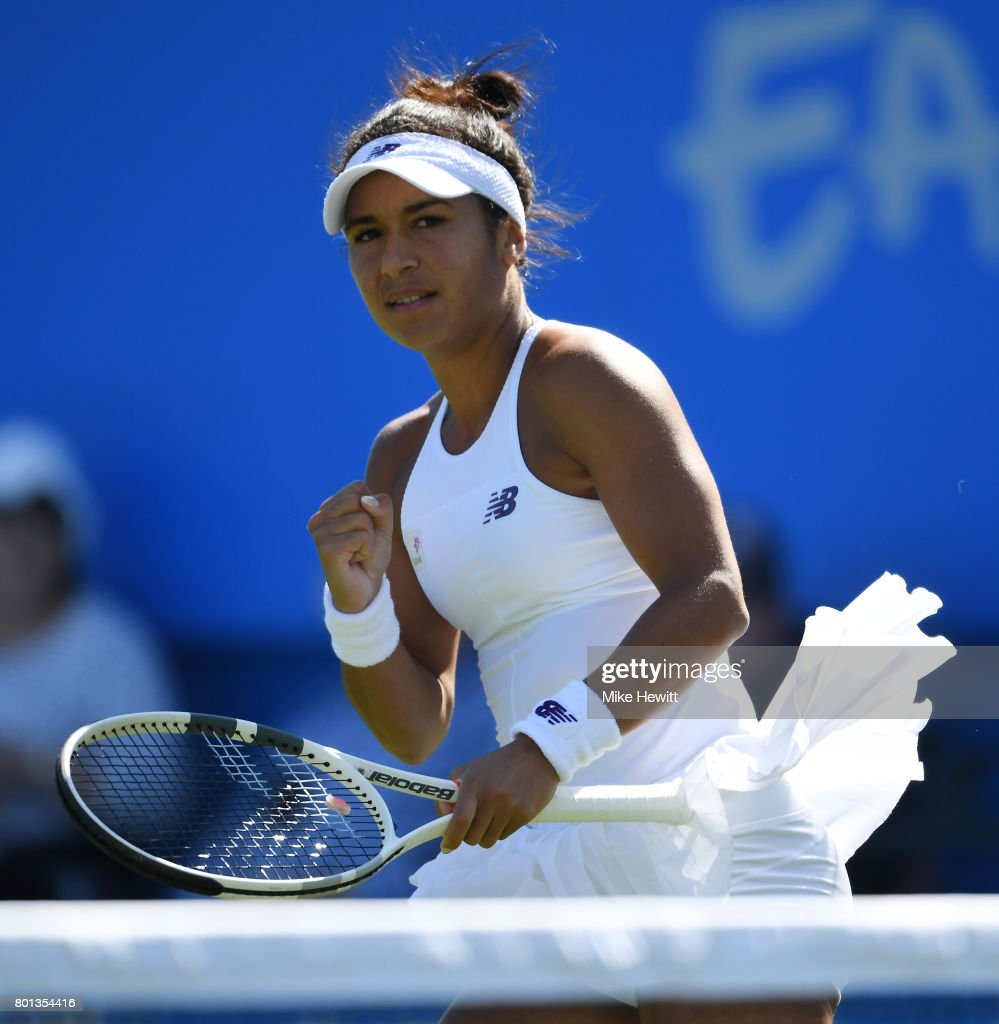 Heather Watson of GBR in action during her victory over Dominika Cibulkova of Slovakia on Day 2 of the Aegon International Eastbourne at Devonshire Park on June 26, 2017 in Eastbourne, England.