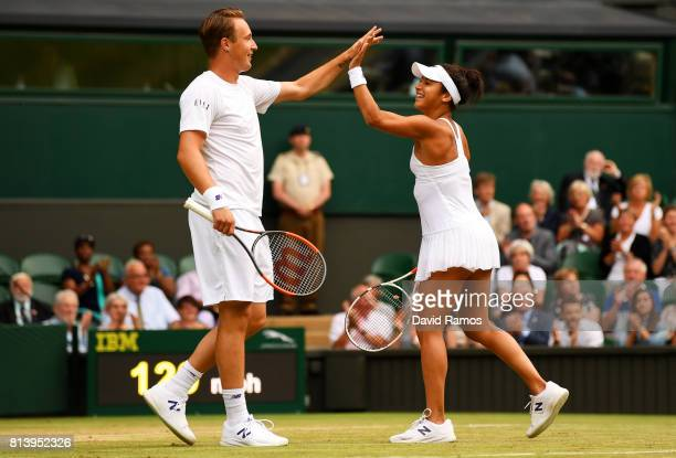 Heather Watson of Great Britain and Henri Kontinen of Finland celebrate in the Mixed Doubles quarter final match against Rohan Bopanna of India and...