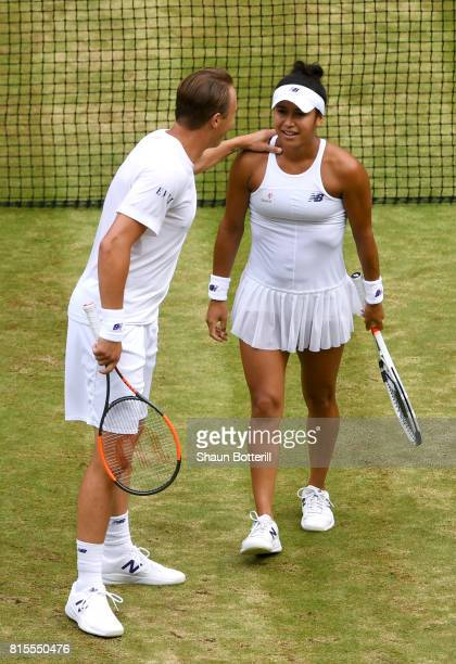 Heather Watson of Great Britain and Henri Kontinen of Finland react during the Mixed Doubles final match against Jamie Murray of Great Britain and...