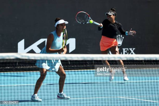 Heather Watson of Great Britain and Leylah Fernandez of Canada in their Women's first round doubles match against Samantha Stosur of Australia and...